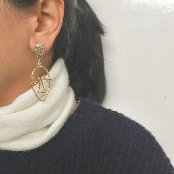 abstract face earrings,wire face earrings,minimalist gold abstract face earrings, picasso face earrings,earring,abstract earrings, gold abstract face earrings ,