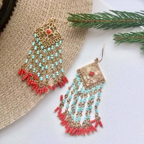 Turquoise and coral bead effect boho chic tassel earrings