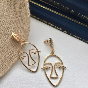 abstract face earrings,wire face earrings,minimalist gold abstract face earrings, picasso face earrings,earring,abstract earrings, gold abstract face earrings ,
