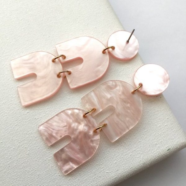 Blush pink marble effect chandelier earrings, pink earring