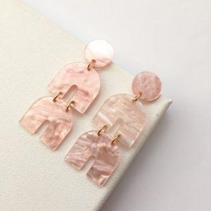 Blush pink marble effect chandelier earrings, pink earring