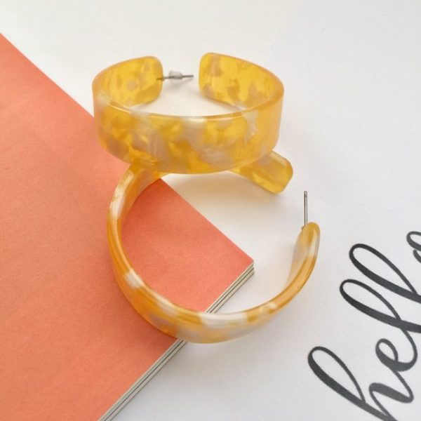 Trendy yellow and white print on hoop earrings ,yellow earring,yellow hoop earrings,white hoop earrings yellow earrings, small hoop earrings, plastic hoop earrings