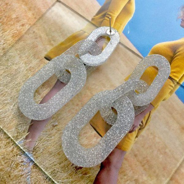 Shimmering silver chain earrings,silver shimmering earrings