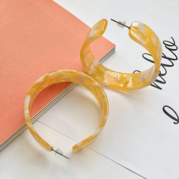Trendy yellow and white print on hoop earrings,yellow earring,yellow hoop earrings,white hoop earrings yellow earrings, small hoop earrings, plastic hoop earrings