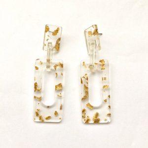 Transparent gold foil gilding flakes rectangle earrings