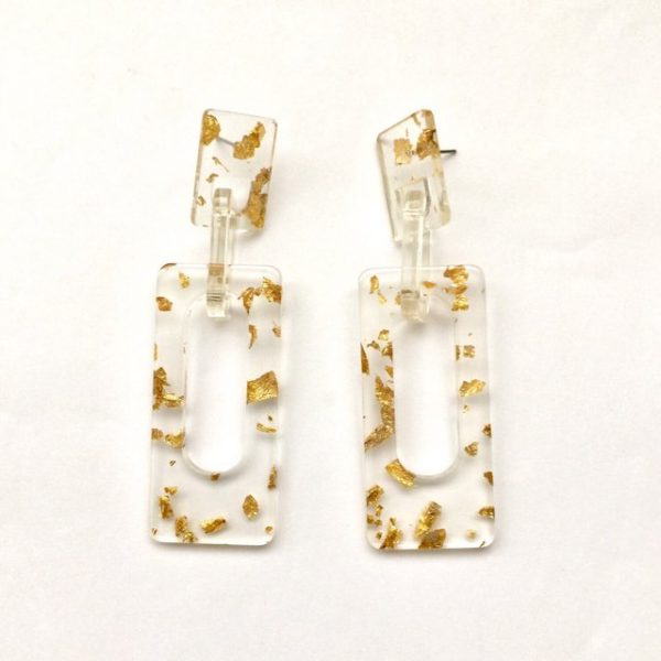 Transparent gold foil gilding flakes rectangle earrings