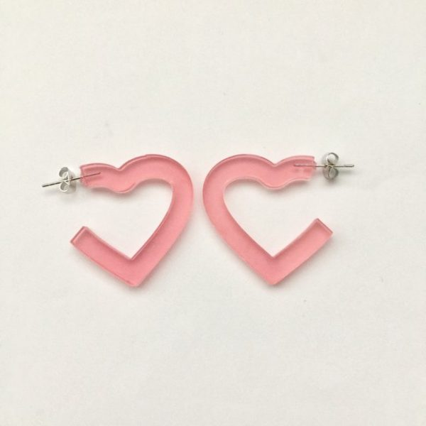 Pink heart-shaped hoop earrings,earrings,hoop earrings #earrings