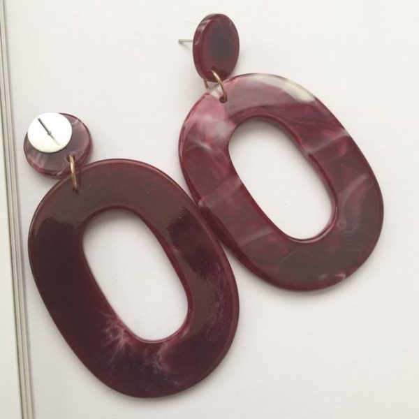 Trendy plum dark red oval shaped earrings,earrings #earrings