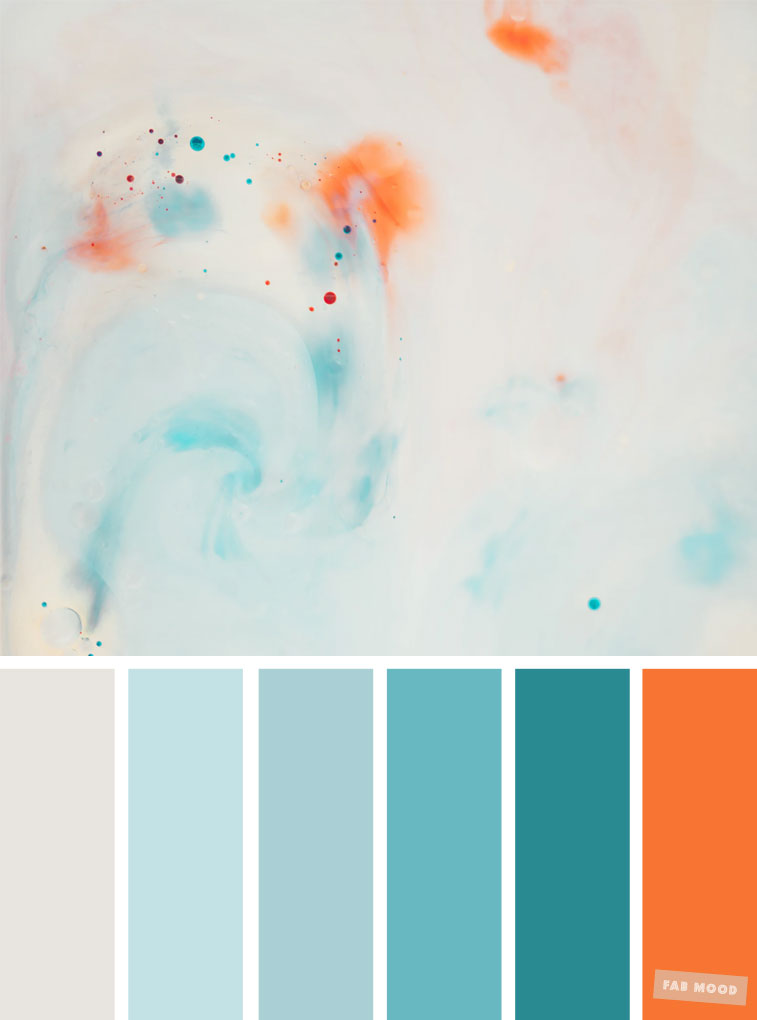Light blue teal and orange colour palette