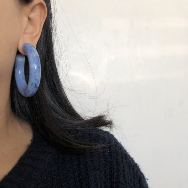 Big chunky baby blue earrings with marble effects