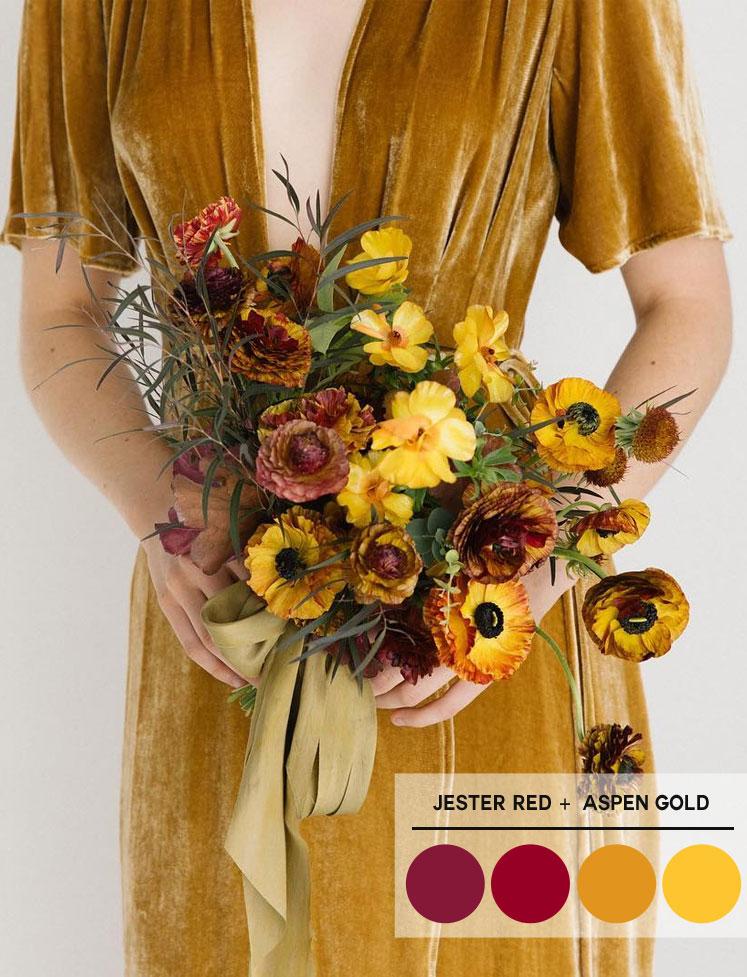 Aspen gold + Jester Red + Mustard color palette