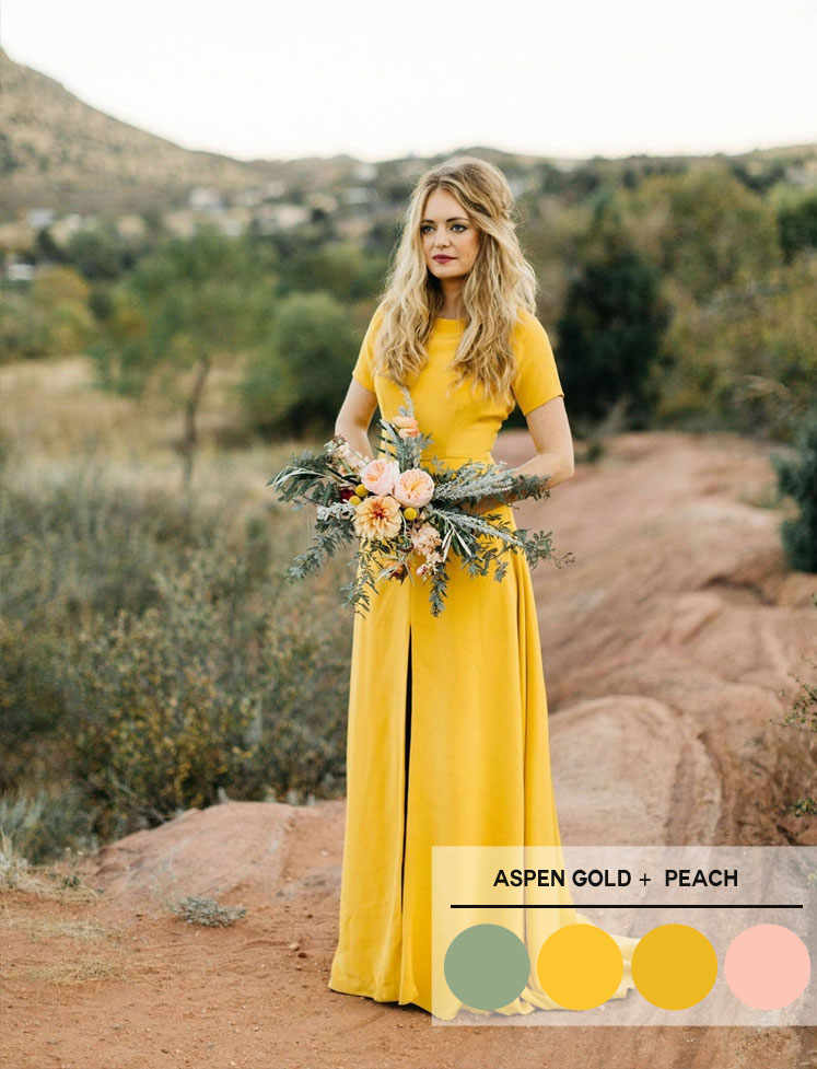 Aspen Gold, peach and sage color palette