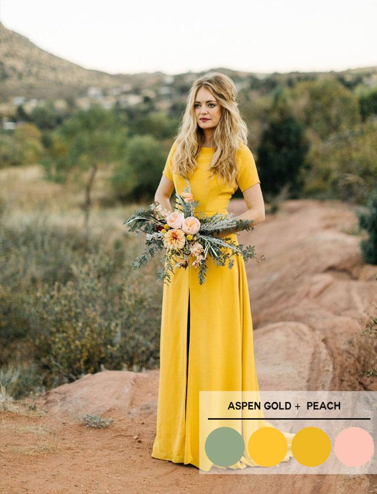 Aspen Gold, peach and sage color palette