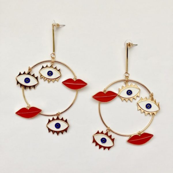 Oversized hoop earrings with abstract details #earrings