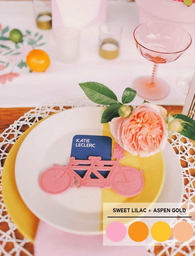 Peach + Orange + Sweet Lilac + Aspen Gold Color Palette