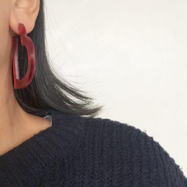 Big red heart-shaped hoop earrings