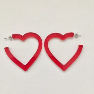 Big red heart-shaped hoop earrings