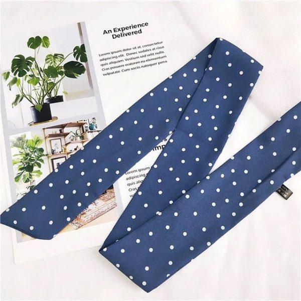 Gorgeous polka dot white on blue print bandana neckerchief/headscarf.