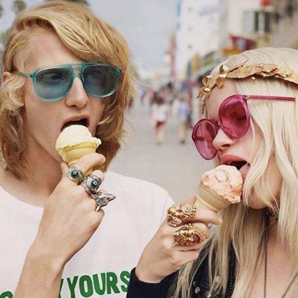 Super trendy unisex light blue transparent flat top sunglasses