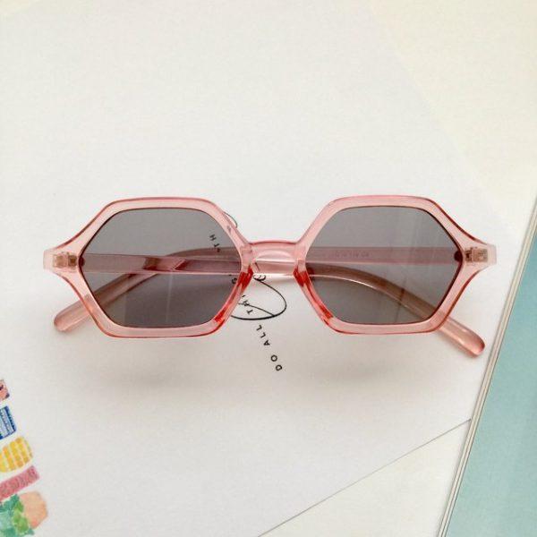 Trendy pink transparent octagon-shaped sunglasses