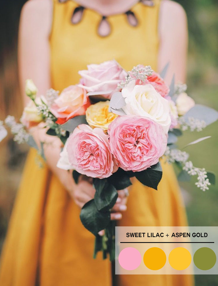 Sweet Lilac + Aspen Gold and Green Pepper Stem Color Palette