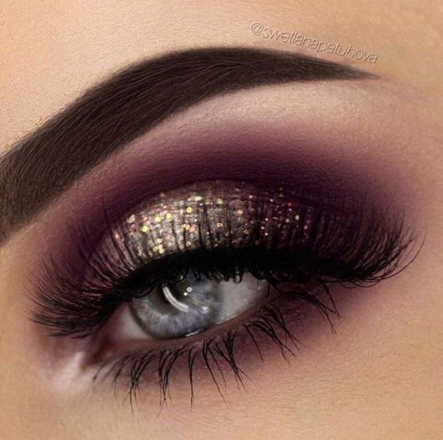 Purple and gold glitter eye makeup