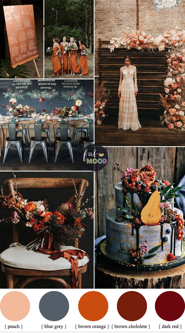 Industrial Chic Moody Fall Wedding with Romantic Edge - color palette , fall wedding #wedding #fallwedding #moodywedding #color