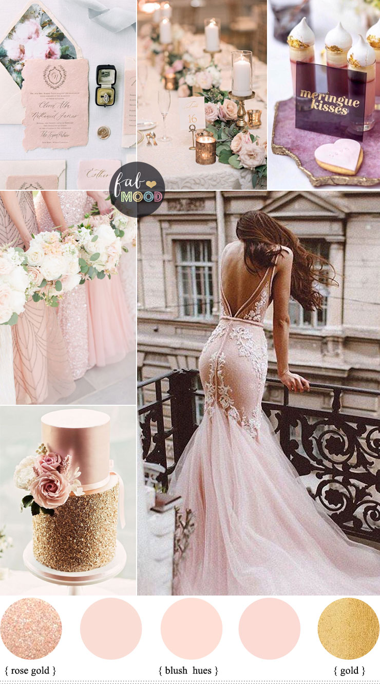 Blush and rose gold wedding colour palette