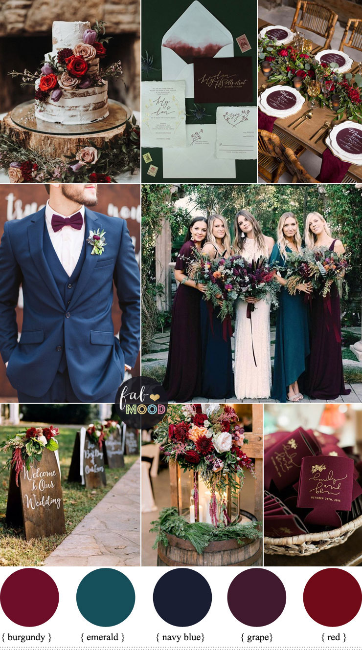 Jewel toned Wedding Colours { Burgundy + grape + emerald + navy blue + red }