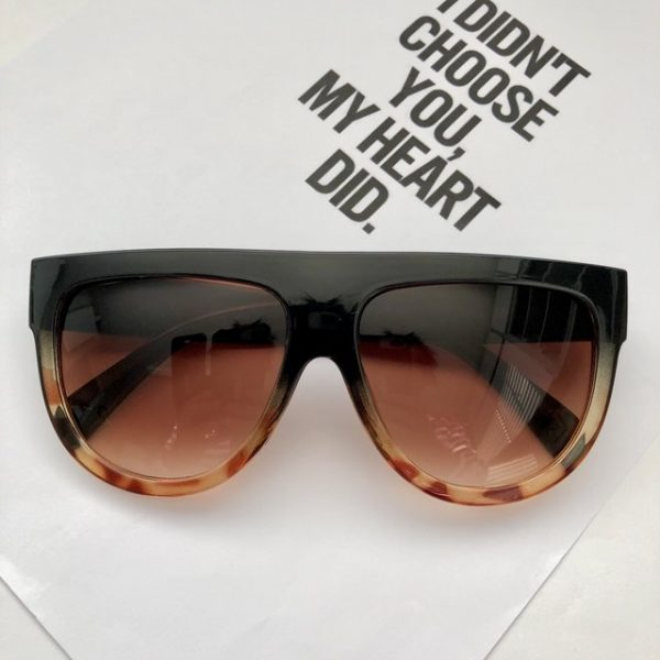 Beautiful black brown leopard transparent flat top sunglasses