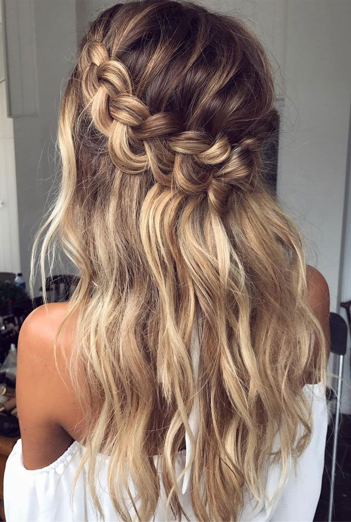 """Braid crown wedding hairstyle perfect for bride and bridesmaids #braids #crownbraids #updo #hairdown #hairstyles #weddinghair"