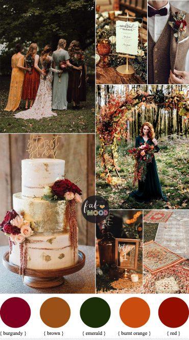 Colorful Fall Wedding Palette That Celebrate The Season - Jewel Tones, unusual fall wedding colors,unique fall wedding color schemes burgundy, burnt orange