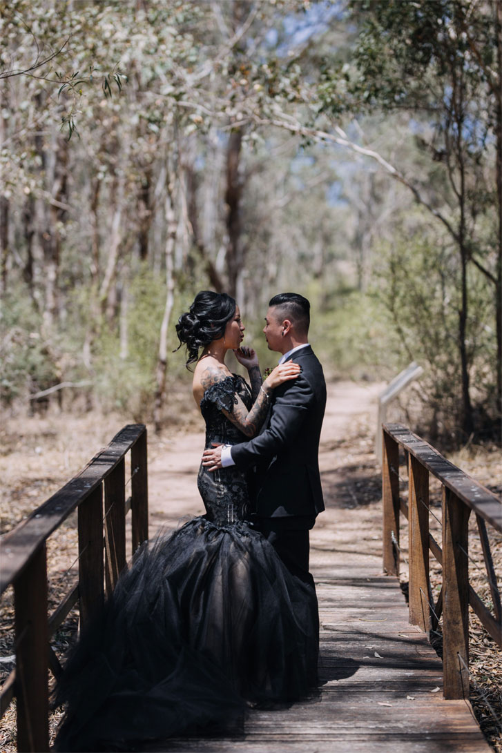 A Black Lace Wedding Dress For A Gothic Style Wedding