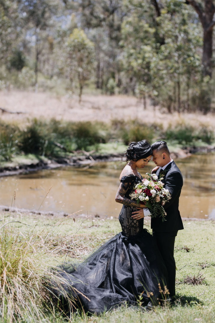 A Black Lace Wedding Dress For A Gothic Style Wedding - bride and groom wedding photo must have
