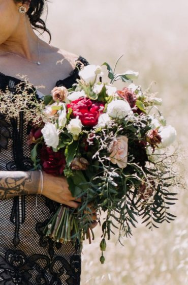 Beautiful fall wedding bouquet and Black lace wedding dress #weddingideas #bouquet #fallwedding