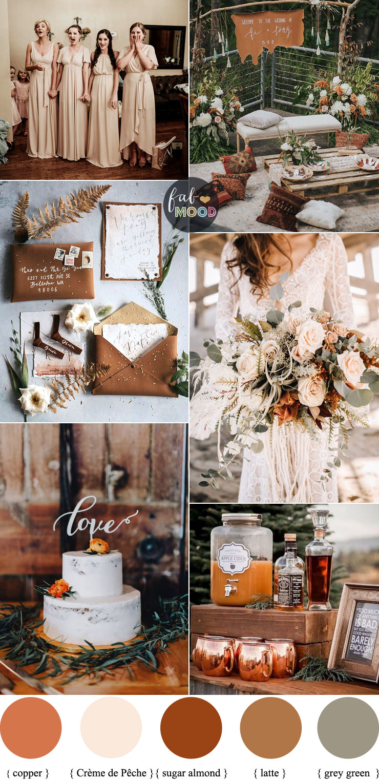 Earth Tones Wedding Color Palette With Copper Accents For Autumn Wedding