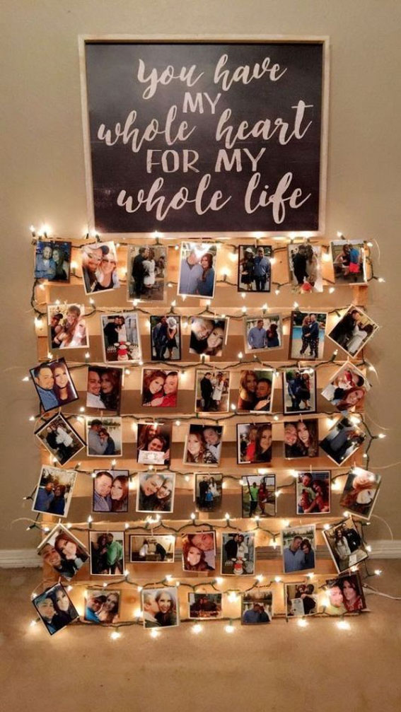 Amazing wedding idea! The perfect way to display wedding photos #weddingideas #weddingdecor