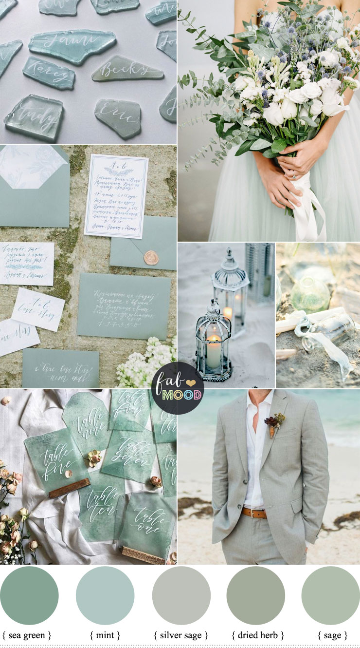 Sage green wedding - Sage Colour Palette For Beach Wedding { Sage + Silver Sage + Mint + Sea Green color combinations }