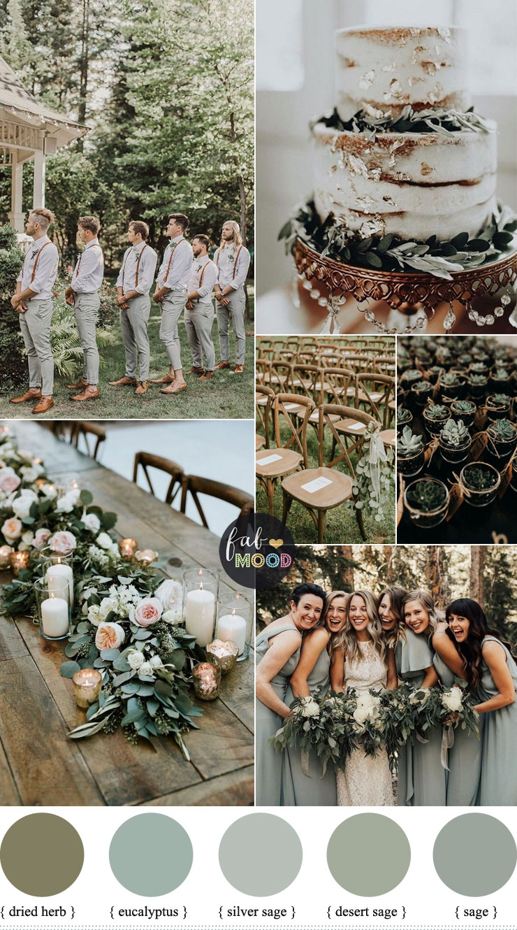 Sage wedding color combination { sage + eucalyptus + silver sage }