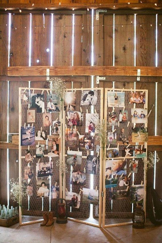 Creative Ways to Display Photos at Your Wedding - wedding photo display ideas wall,wedding photo wall display, photo table display ideas,photo wall wedding reception #weddingdecor #weddingphoto