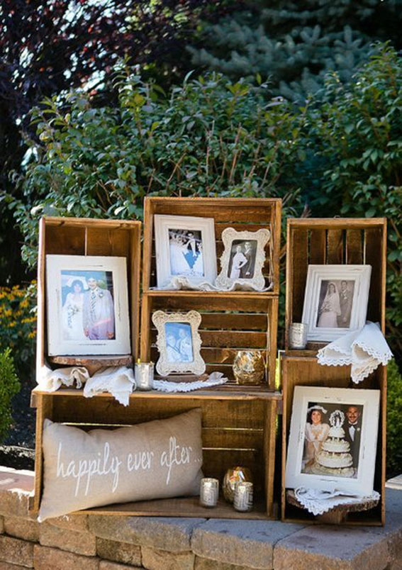 Creative Ways to Display Photos at Your Wedding - wedding photo display ideas wall,wedding photo wall display, photo table display ideas,photo wall wedding reception #weddingdecor #weddingphoto