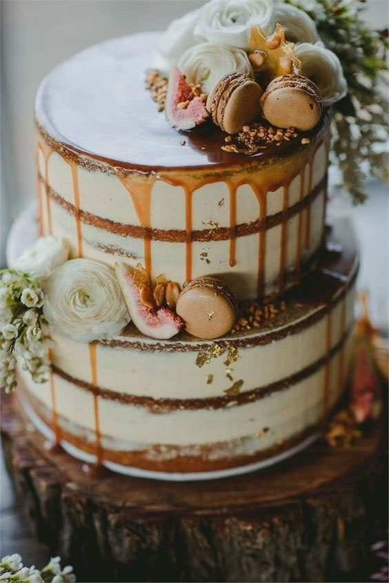 Semi naked wedding cake with dripped caramel sauce perfect for autumn #weddingcake