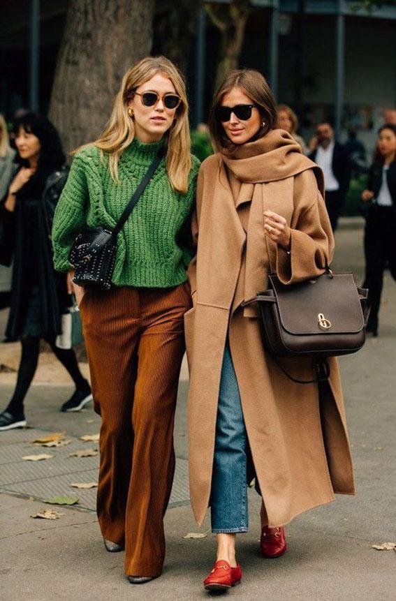 Brown + green , camel + blue denim - Autumn Wardrobe #autumn #fall autumn wardrobe , fall outfits ,autumn outfits