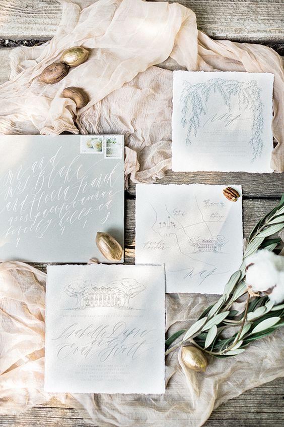 Wedding invitations - Grey And Blue Wedding Theme For Winter Wedding