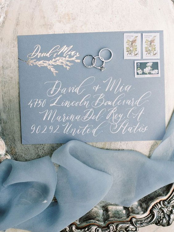 Wedding invitations - Grey And Blue Wedding Theme For Winter Wedding
