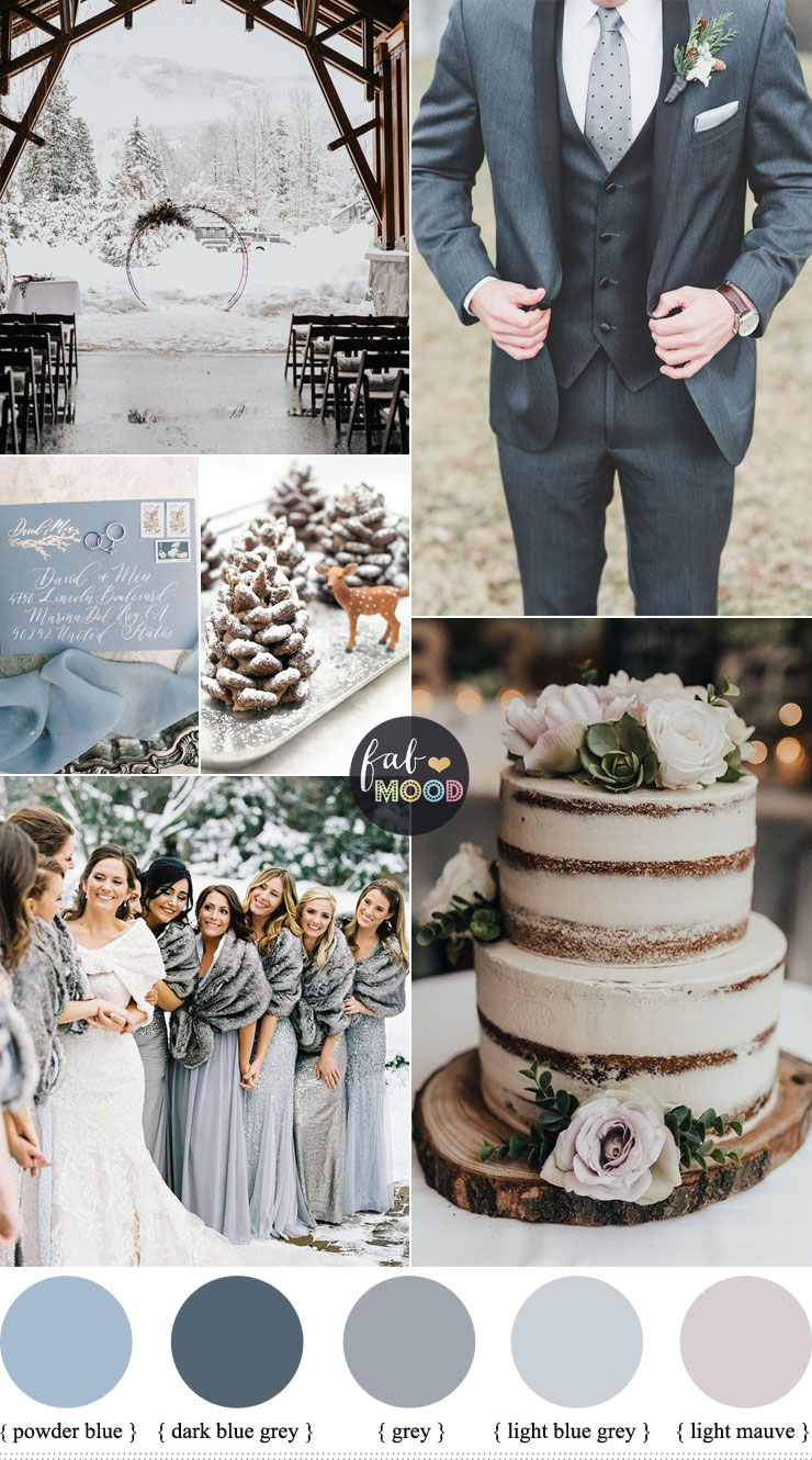 Grey And Blue Wedding Theme For Winter Wedding - light blue and grey wedding color combinations #color ,color palette ,winter color ideas #winter