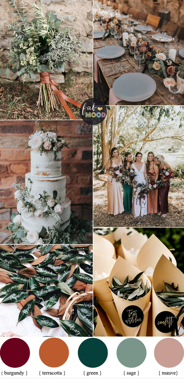 Romantic wedding colour combos { Burgundy+mauve+green+terracotta }