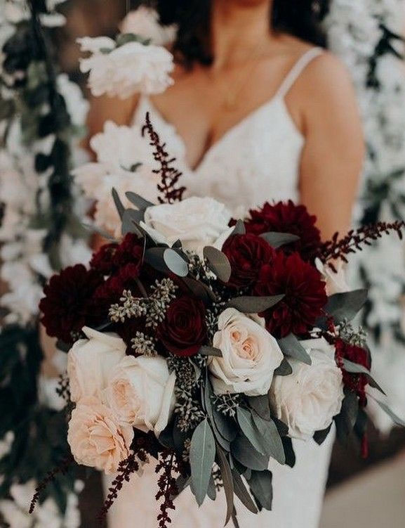 Wedding Bouquet with burgundy details #burgundy #bouquet Burgundy and grey wedding