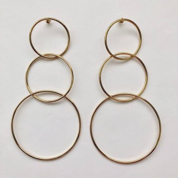 Unique oversized minimalist gold hoop layered earrings