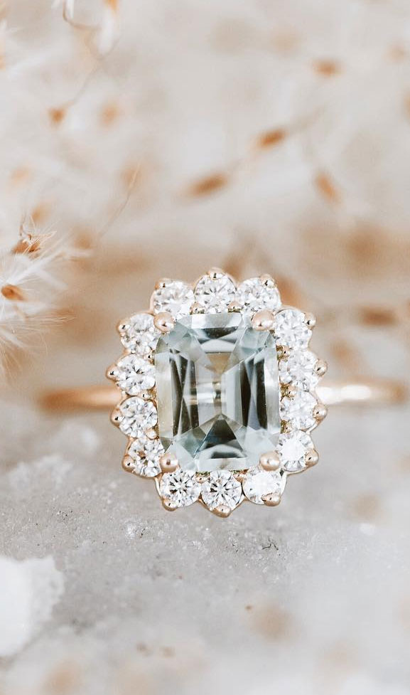 35 Engagement Rings That Are Incredibly Trendy - Aquamarine engagement ring, emerald cut engagement ring #engagementring